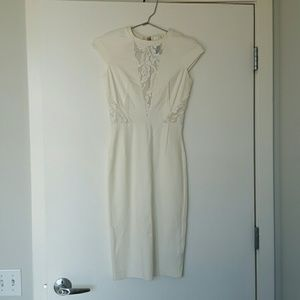 NEW Guess by Marciano white lace ponte dress